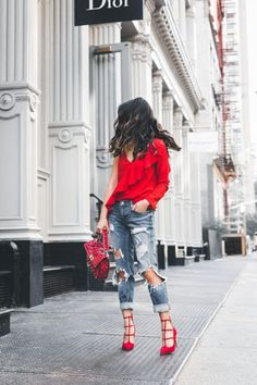 Lady in Red :: Asymmetry blouse & Boyfriend jeans