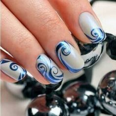 Cool nail design - swirls in shades of blue!!!