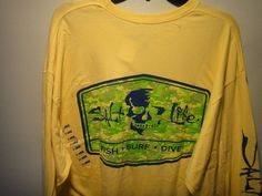 89b0e952a9eb0 SaltLife Fishing Men s T-Shirt Long Sleeve At Ease Color Banana Size X-LARGE