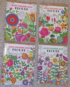 Lot Of 4 Brand NewFlower/Floral themed Adult Coloring Books.    All 4 books are unique, with intricate nature (plants, gardens, flowers, vased floral arrangements, butterflies, cute insects, etc.), and paisley patterns and themes. These books are a bit heavier than the average similar product; paper has a nice weight and tooth.