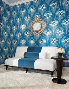 The eye-catching stripe of Duralee blue velvet is a bold statement on this San Paulo Armless Sofa by Duralee.