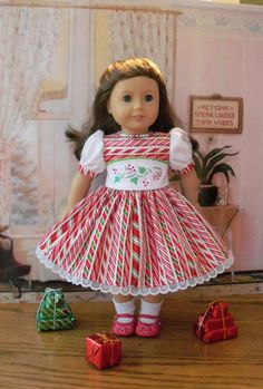 "Christmas Dress for American Girl Doll Maryellen or other 18"" Doll"