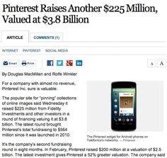 Pinterest Raises Another $225 Million, Valued at $3.8 Billion Pinterest History, Popular Sites, Creative Photos, Online Images, Raising, Investing, Finance, Social Media, Business