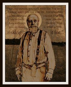 A personal favorite from my Etsy shop https://www.etsy.com/listing/480003698/walking-dead-art-print-hershel-portrait