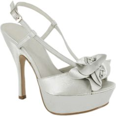 Pinup Shoes Silver Satin Slingback Peep Toe Pinup Pumps with Satin... ($47) ❤ liked on Polyvore