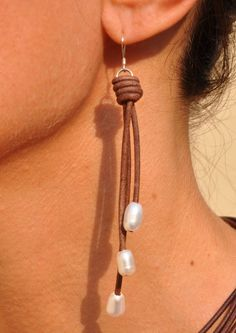 freshwater pearls and leather earrings