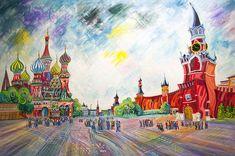 PLAZA ROJA (MOSCU). Oleo sobre lienzo. 146 x 97 x 3,5 cm.
