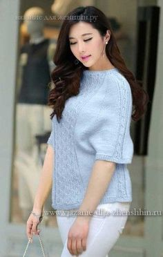Модный женский свитер спицами