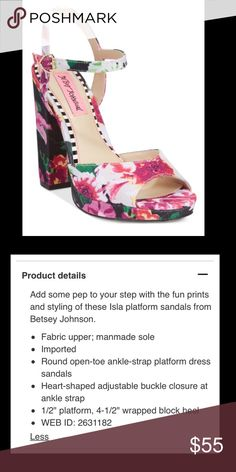 *PRICE DROP - temporary + BUNDLE @ 20% off* Betsey Johnson Isla Platform Sandals *NEW in box* These gorgeous sandals are highly reviewed as both pretty and comfortable. Rock these with a skirt and pedicure in warmer weather. The floral print offers shades of pink, green, yellow, white, and black. New in box and never worn. *I Love Offers!* Betsey Johnson Shoes Sandals