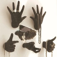 Cool display using mannequin hands. We have a variety of mannequin hands at Mannequin Madness.com