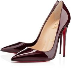 What a beautiful pair of  Christian Louboutin burgundy patten leather shoes! www.missKrizia.com