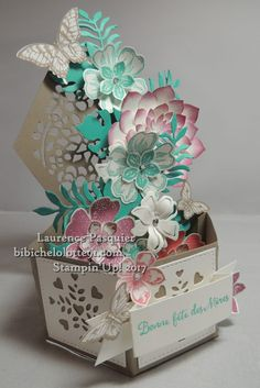 Scrap Version | Bibiche Lolotte Z Cards, Cool Cards, Stampin Up Cards, Fancy Fold Cards, Folded Cards, Box Cards Tutorial, Hexagon Box, Exploding Box Card, Pop Box