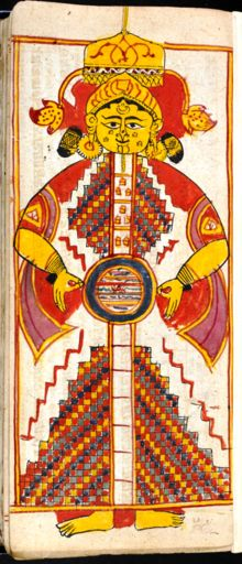 Śalākāpuruṣas - The deeds of the 63 Illustrious Men and shape of universe in Jain 'non-creationist' cosmology   Cosmic Man Miniature from 17th century, Saṁgrahaṇīratna by Śrīcandra, in Prakrit with a Gujarati commentary