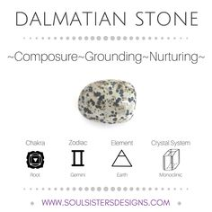Metaphysical Healing Properties of Dalmatian Stone, including associated Chakra, Zodiac and Element, along with Crystal System/Lattice to assist you in setting up a Crystal Grid. Go to https://www.soulsistersdesigns.com/dalmatian-stone to learn more!