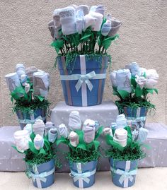 Unique Baby Shower Centerpieces, Ultimate Boy Baby Shower Decor, 50 Piece Layette Gift Set for Mom to Be, Custom Newborn Infant Boy Gifts