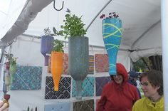 wine bottles hanging planters
