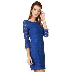 Royal blue lace long sleeve shift dress. Invisible zipper closure on the side. Partially lined.