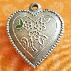 Vintage 1940'S Flowers Puffy Heart Hand Engraved Jimmie Sterling Silver Charm from A Genuine Find