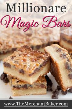 The flavor of millionaire's shortbread, the ease of a magic bar! Soft, chewy shortbread with baked on caramel and chocolate topping! Cherry Desserts, Easy Desserts, Delicious Desserts, Magic Cookie Bars, Magic Bars, Chocolate Bar Recipe, Chocolate Topping, Cookie Recipes, Dessert Recipes