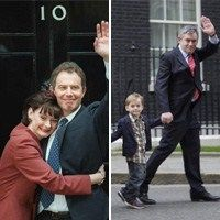 Tony Blair and his wife Cherie in 1997; Gordon Brown and his son John in 2010(Press Association)