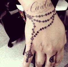 bracelet tattoos for women - For my nannie Rosary Tattoo Wrist, Rosary Bead Tattoo, Wrist Bracelet Tattoo, Wrist Tattoos, Finger Tattoos, Body Art Tattoos, Tribal Tattoos, Sleeve Tattoos, Cross Tattoos For Women