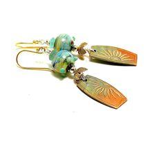 NEW! Boho Dangle Earrings. Soft Sunrise Colors. Handmade Sun Clay Charms. Stunning Lampwork Beads. Great Gift Ideas. Glass Beaded Jewelry.