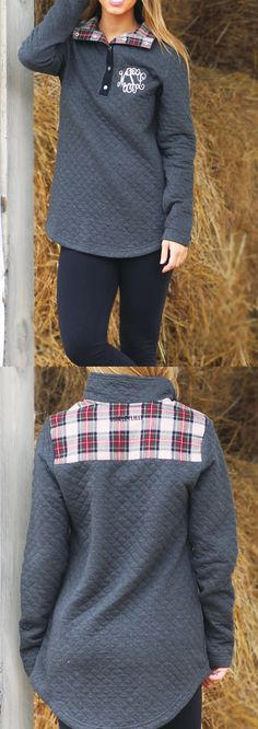 A pop of plaid never hurt anybody~ the new Monogrammed Quilted Pullover is a fall wardrobe MUST!