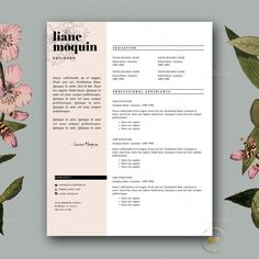 Feminine CV Template for Word by Botanica Paperie on Creative Market