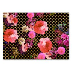 Elegant Pink Vintage Flowers Black Gold Polka Dots Business Cards. I love this design! It is available for customization or ready to buy as is. All you need is to add your business info to this template then place the order. It will ship within 24 hours. Just click the image to make your own!
