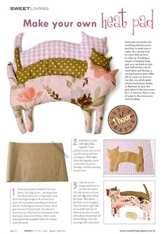 Kitty Heat pad from Sweet Living magazine Issue 2 - diy - Crafts Sewing Hacks, Sewing Tutorials, Sewing Tips, Beginner Sewing Patterns, Sewing Ideas, Fabric Crafts, Sewing Crafts, Craft Projects, Sewing Projects