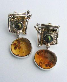 серебро, 18-каратное золото, янтарь, жемчуг, Григорий Пыра Пиро Серьги 1825