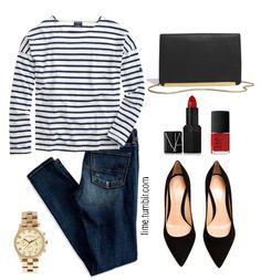 spring essentials striped slouchy tee ae denim everyday clutch basic black pumps boyfriend watch red lipstick