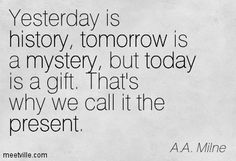 Yesterday Is History Tomorrow A Mystery Today Gods Gift That Quote