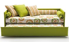 "I will stop looking for a loveseat for walk-in closet/dressing room and modify my white iron day bed. For me this article is ""How to make a day-bed look more like a sofa-bed."" I will place three large pillows on top of the matress and against the back. From ""How to make your own DIY sofa-bed."" on Hometone: Your guide to a beautiful home"