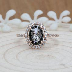 Salt And Pepper Oval Diamond Solid Rose Gold Ring Engagement Gift Ring Best Diamond, Oval Diamond, Diamond Stores, Rose Gold Engagement Ring, Wedding Ring, White Gold Rings, Natural Diamonds, Stud Earrings, Diamond Earrings