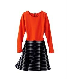 Robe femme en maille unie et rayée orange Scarlett / bleu Abysse - Petit Bateau
