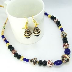 Meenakari Traditional Mala Blue Black