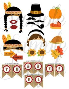 photo booth thanksgiving templates free | THANKSGIVING 26 piece Photo Booth Props | Fall Time
