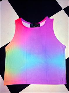 So... I heard you needed a top to wear while you go 4 a walk with your unicorn?   Ok, here it is   Spandex crop tank ft. all over gradient color print Stretchy AF Lightweight