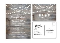Rustic wedding invitation. Printable wedding invitation with wood and string of starry lights. Country chic. JPG or PDF file  Wedding Invitation: