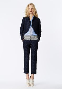 LOOK 11 Navy satin dot jacquard tailored jacket. Cornflower blue chiffon cross print cowl neck top.  Navy satin dot jacquard trouser with seersucker yoke.
