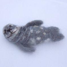 Seal Needle Felted Brooch