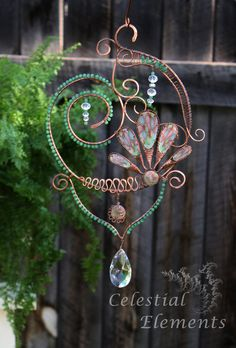 Sun Catcher or window art. Copper wire is by CelestialElementsNM