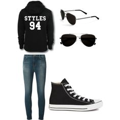 One direction concert by alannaxjonnesx on Polyvore featuring polyvore, fashion, style, J Brand, Converse and Calvin Klein