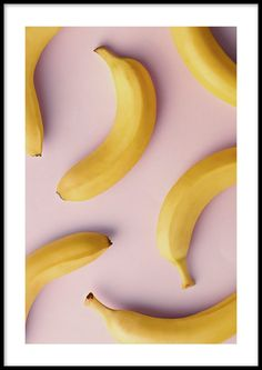 Playful poster with yellow bananas against a pink background. A built-in passe-partout frames the motif elegantly. Discover more kitchen prints online! Pink Backround, Poster Wall, Poster Prints, Cute Walpaper, Banana Party, Bedroom Decor For Teen Girls, Junk Mail, White Picture Frames, Cute Paintings