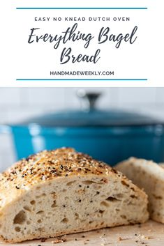 No knead everything bagel dutch oven bread Handmade Weekly recipe for rustic artisan kalamata olive bread. It is a no knead dutch oven recipe that requires zero skill. This crusty olive bread looks and tastes great! Dutch Oven Bread, Dutch Oven Cooking, Dutch Oven Recipes, Cooking Recipes, Dutch Oven Meals, Dutch Oven Chicken, Chef Recipes, Easy Recipes, Soup Recipes