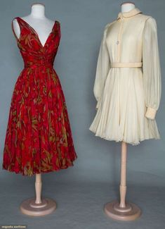 Augusta Auctions, November 2, 2011 NYC, Two Galanos Chiffon Party Dresses, 1960 & 1967