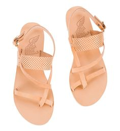 1a97425efcd9 Ancient Greek Sandals ALETHEA Flat sandals in natural leather straps with  perforated details.