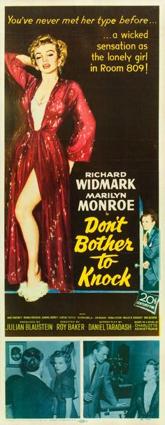 """Movie Posters:Thriller, Don't Bother to Knock (20th Century Fox, 1952). Insert (14"""" X36"""").. ... Image #1"""