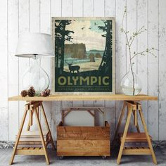 Olympic National Park Poster, Poster Canvas Print, Printed on Canvas, Wall Decor, National Park Wall Decor, WA, Olympic National Park